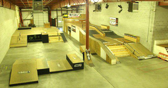 Warp Skatepark in Lake in the Hills, IL with skate-able stage circa 2009