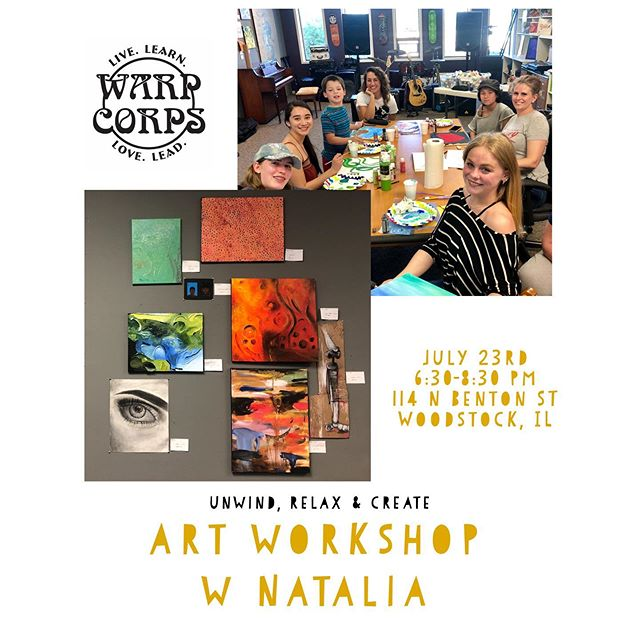 TOMORROW JULY 23 Natalia will be hosting her second art workshop at Warp Corps!! Come on by for an open environment, love and good company while letting your creativity flow!  Supplies like paint, canvasses, paper, charcoal, watercolors, pastels, stencils, glitter and more! $5 suggested donation 💚🙏
