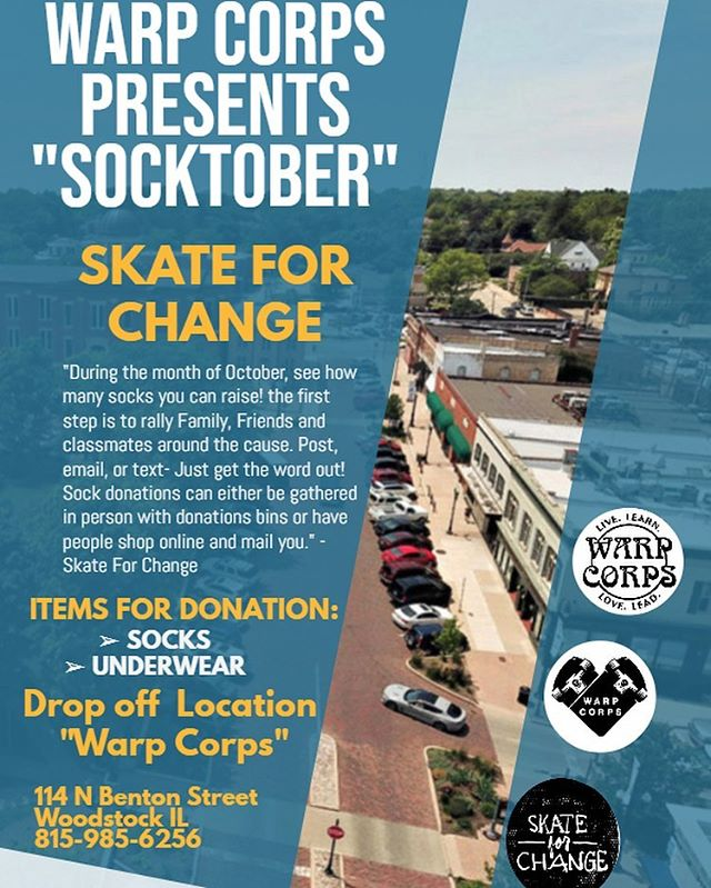 "🧦👙We are so excited to be taking part in Skate for Change's ""SOCKTOBER"" donation event in effort to provide socks and undergarments to those in need before winter! Now through the rest of October, please bring any donation to our store in a really simple and affordable way to help our community! 🧦👙 Please spread the love & share! 💙"