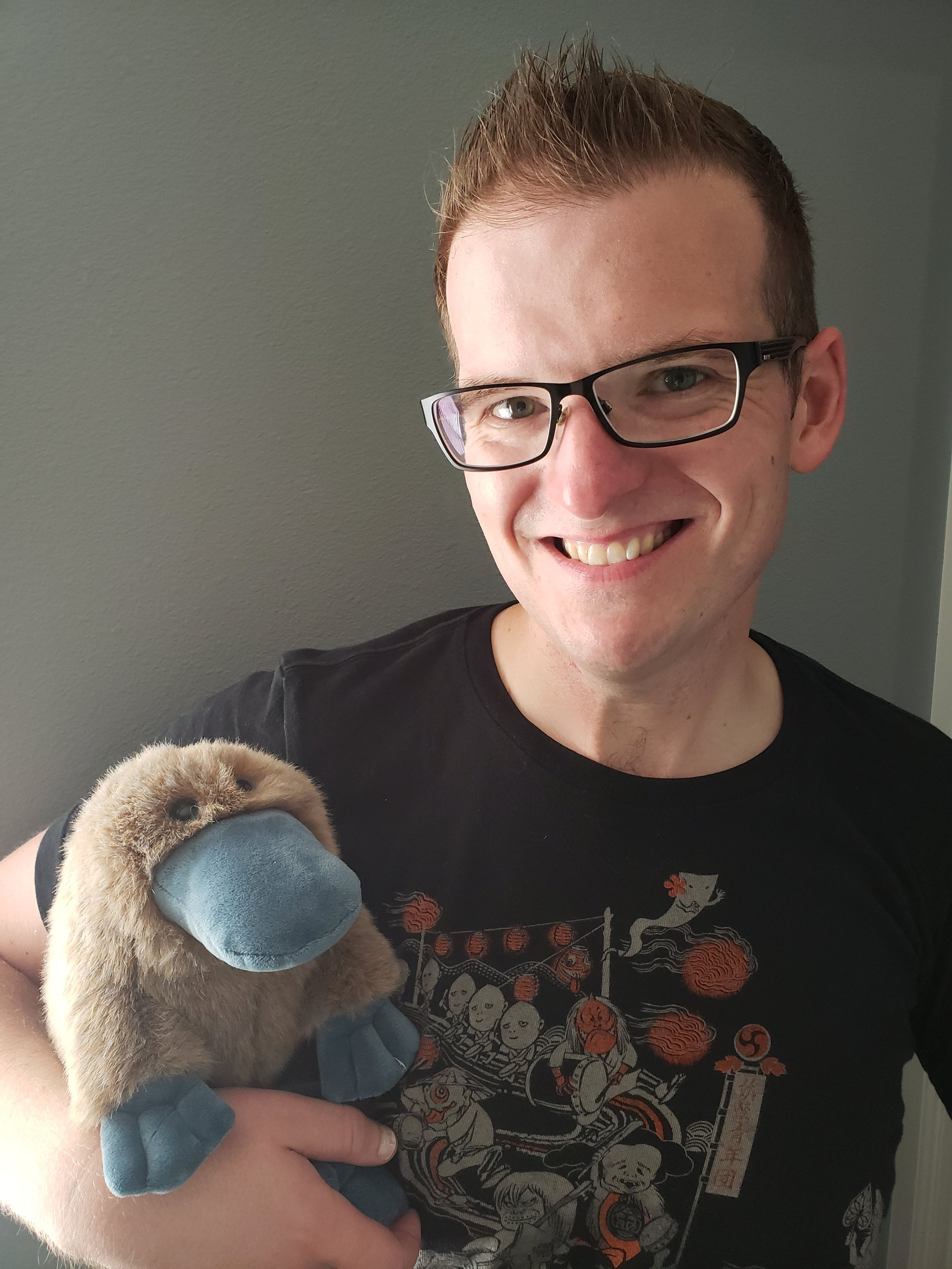 Ryan with his stuffed platypus, Webber, who plays a very important role in the novel,  Carnival of Heaven .