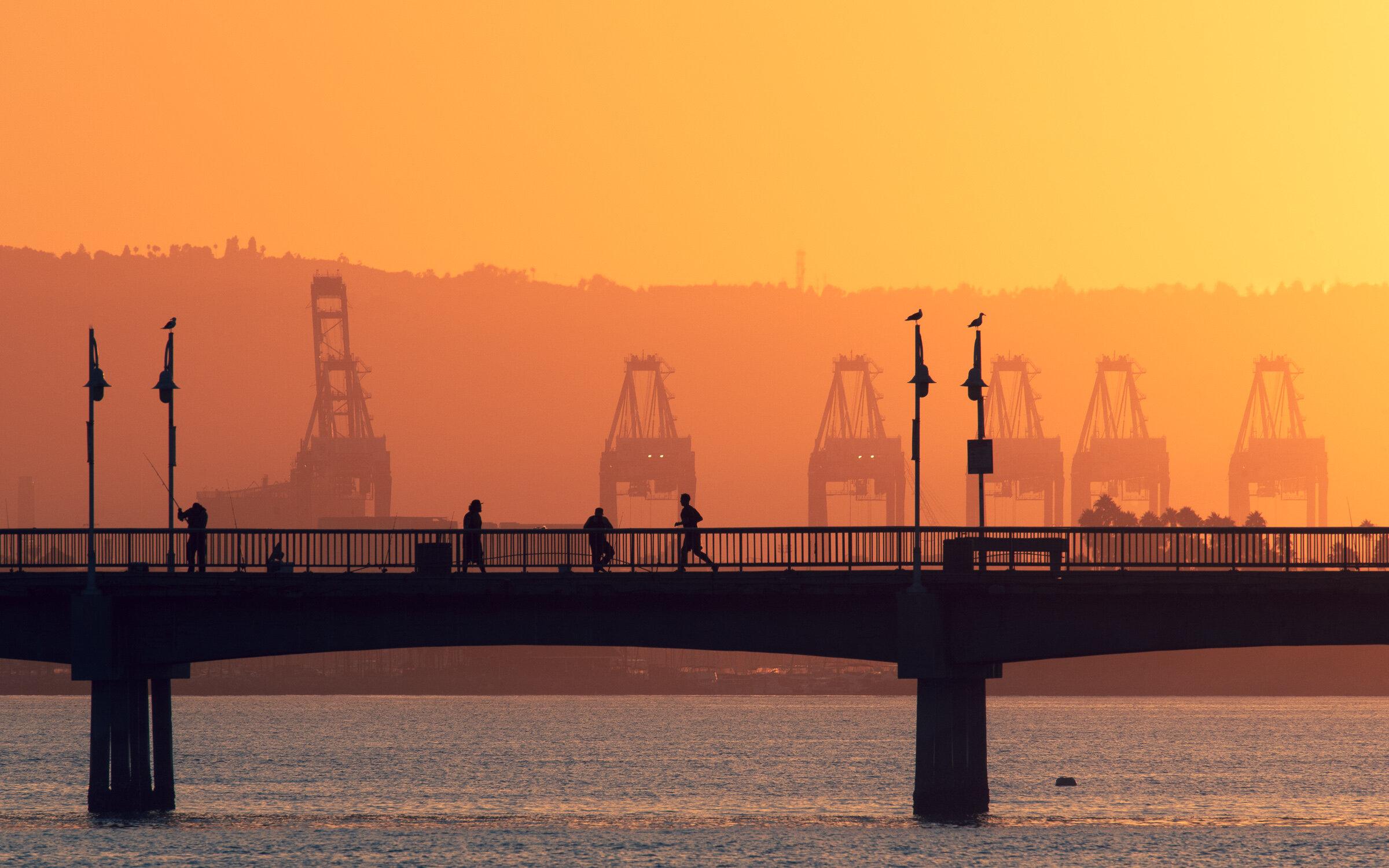 Jogger on Belmont Pier