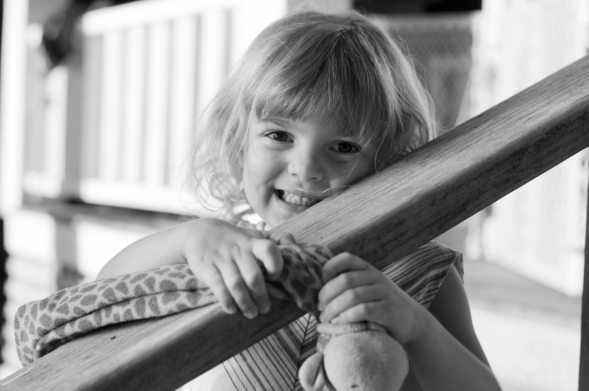 black and white photo of little girl