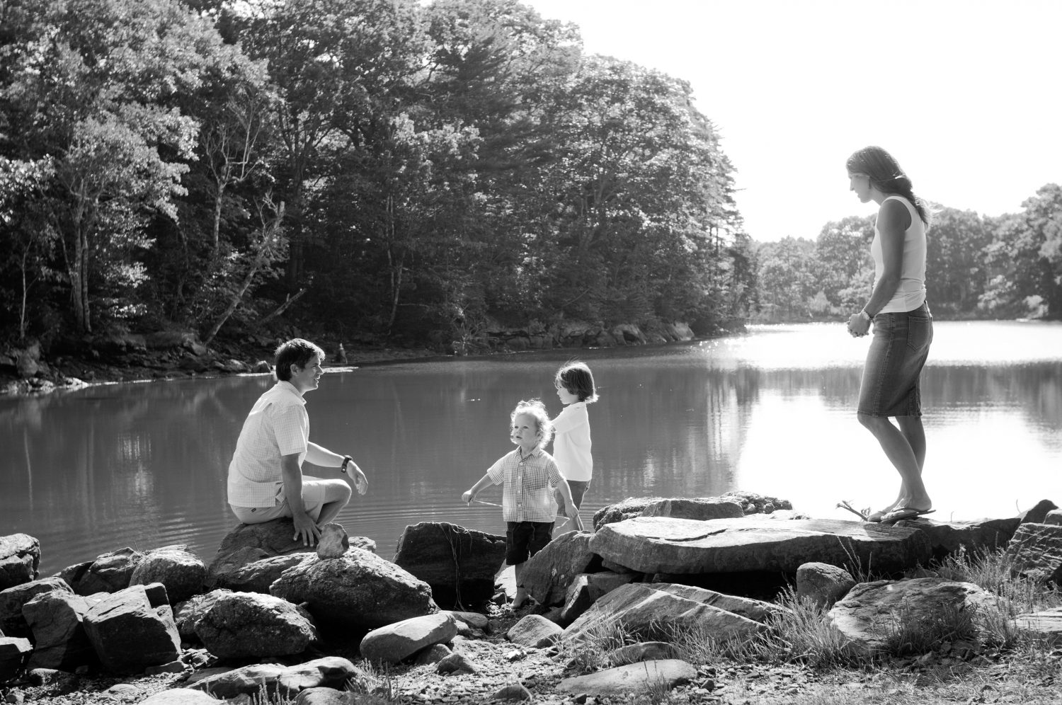 Black & white family photo at Back Cove, Maine