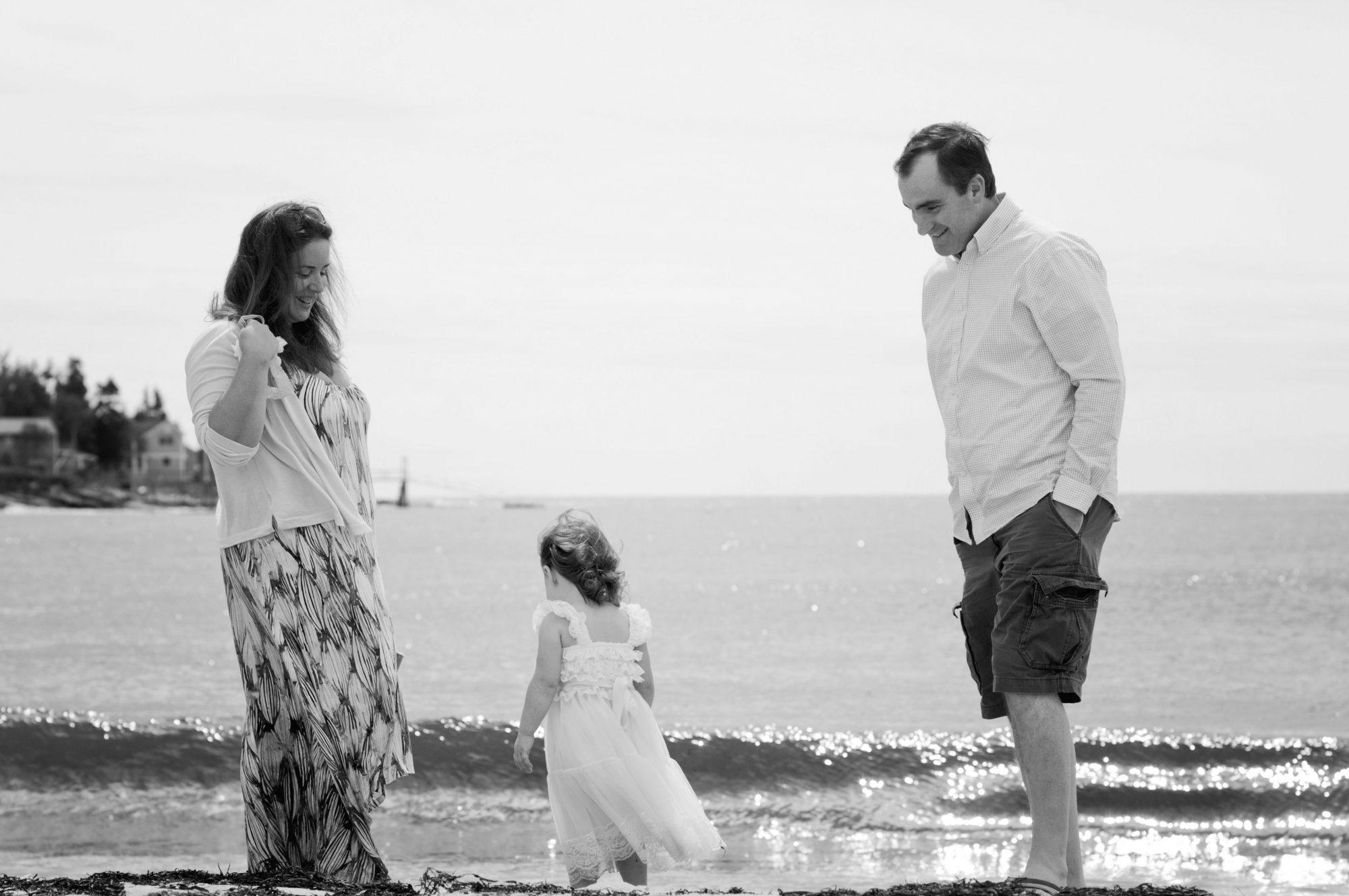 Black and white family photo at Pemquid Beach