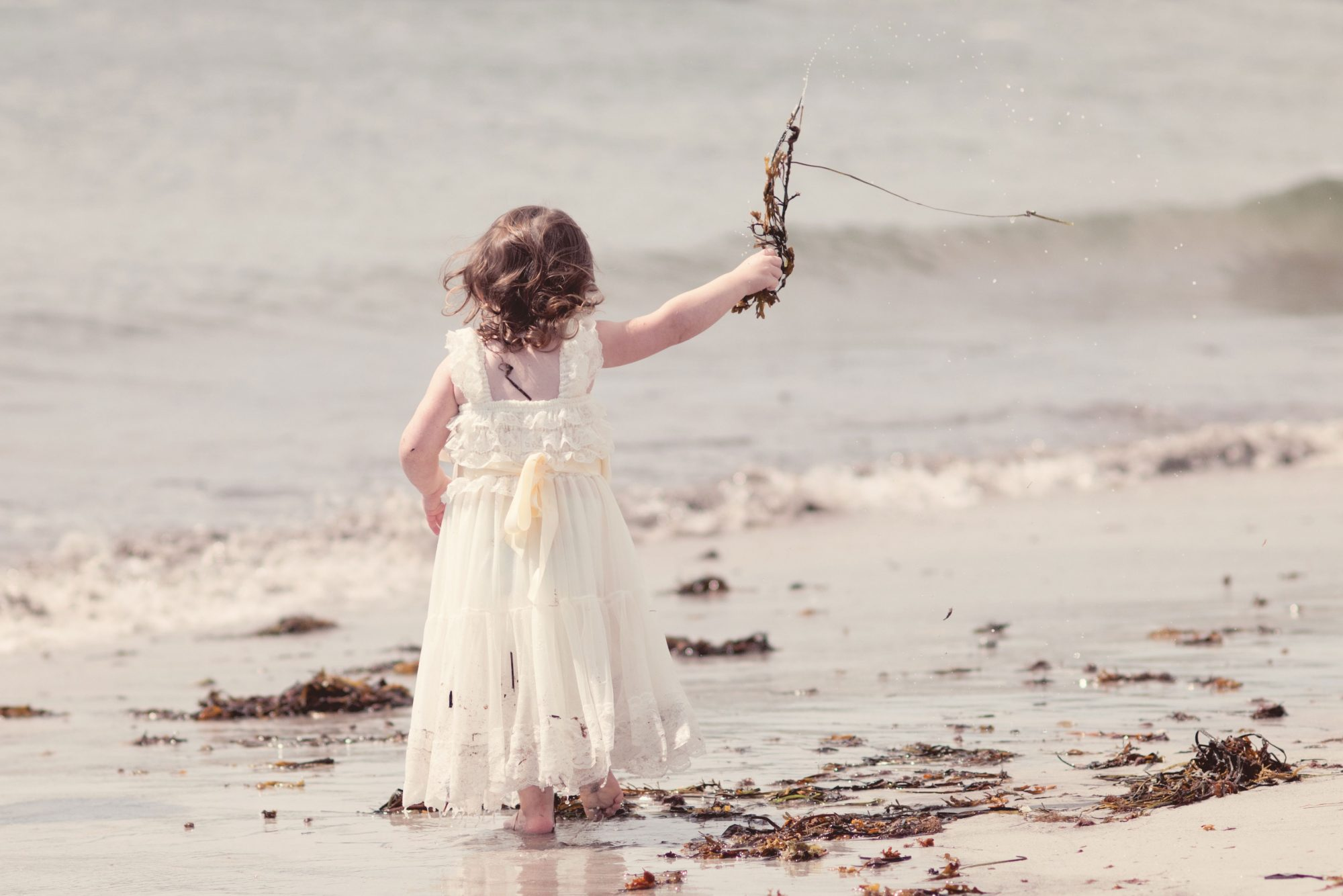 Little girl throwing handfuls of seaweed into the ocean