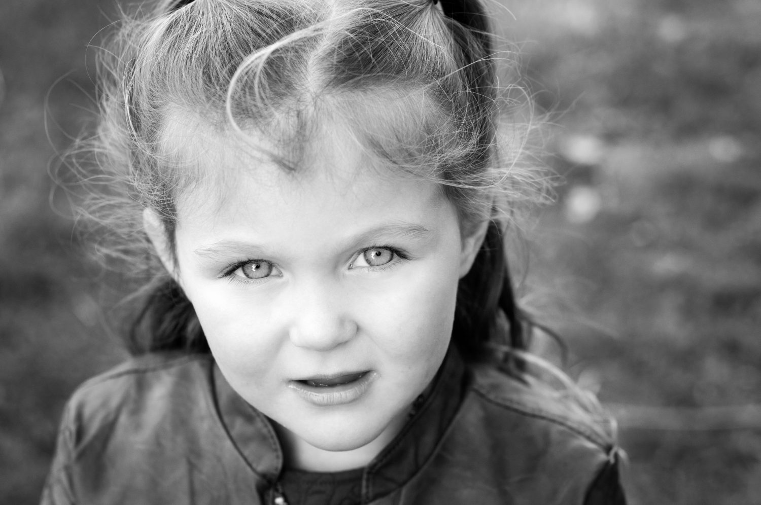 black and white portrait of young girl