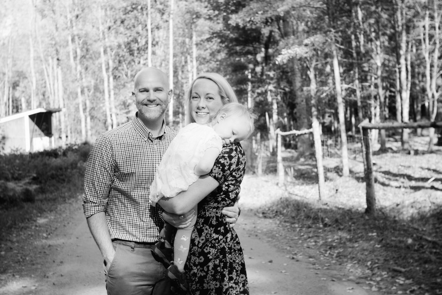 black and white portrait of family