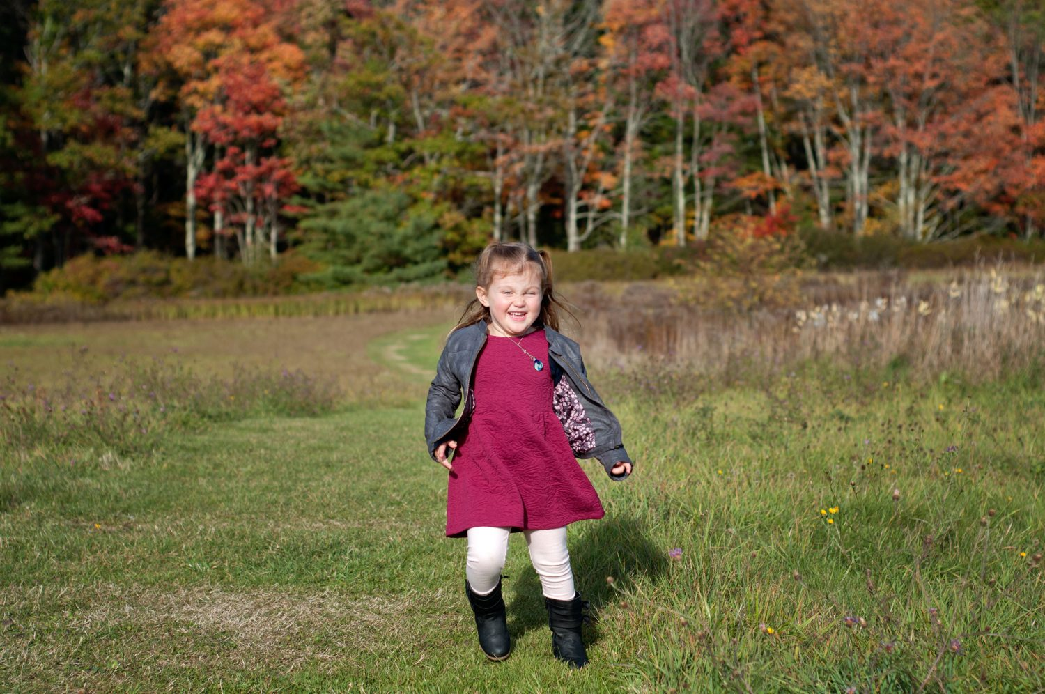 little girl running in a field with fall colors