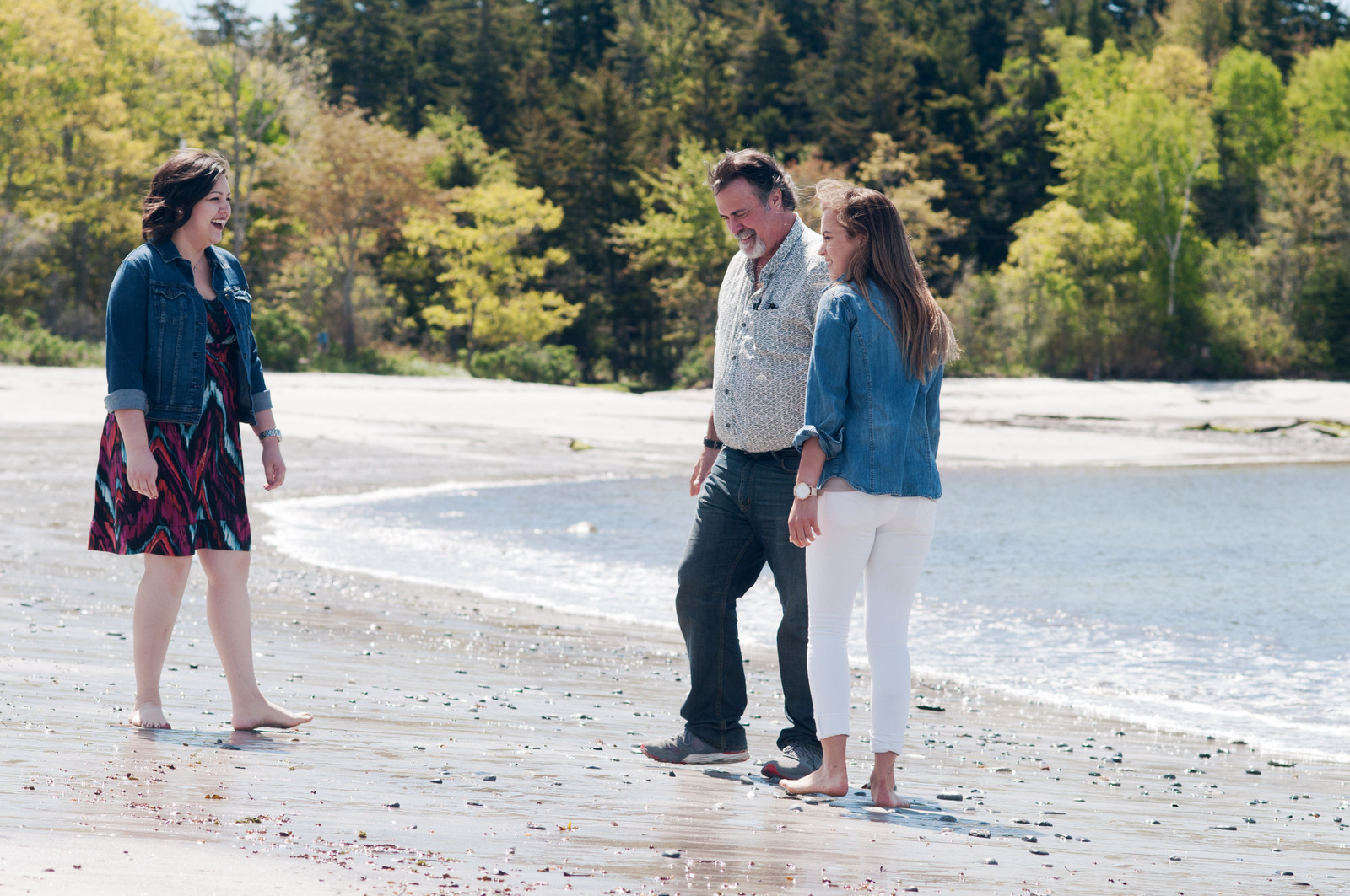 father and two daughters at Pemaquid Beach