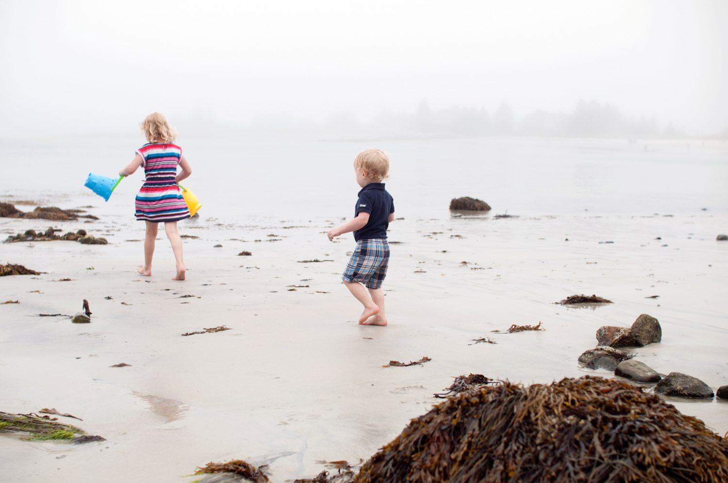 Siblings_playing_on_a_foggy_beach_in_Pemaquid_Maine