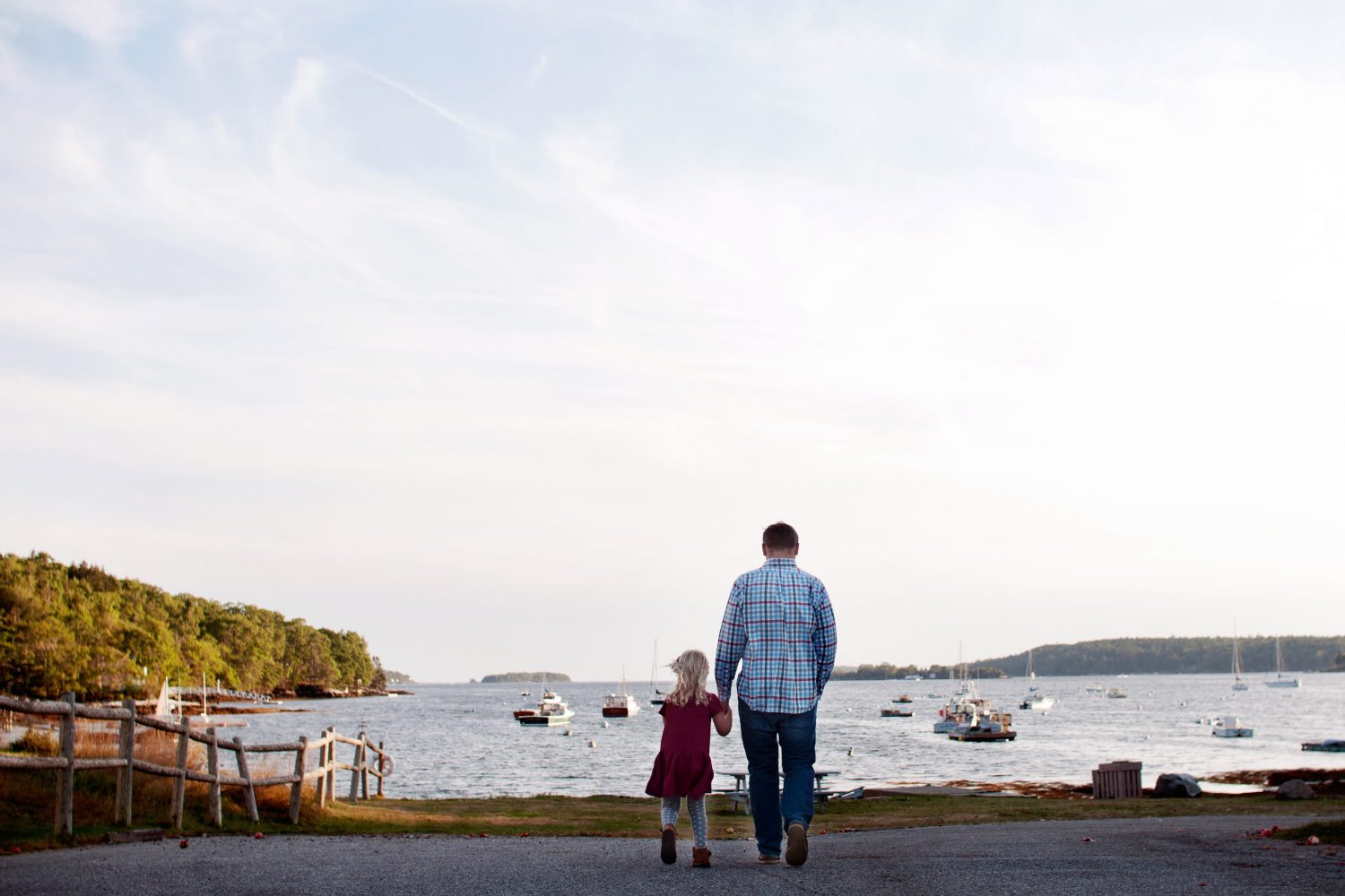 father and young daughter walking hand in hand at a harbor full of boats