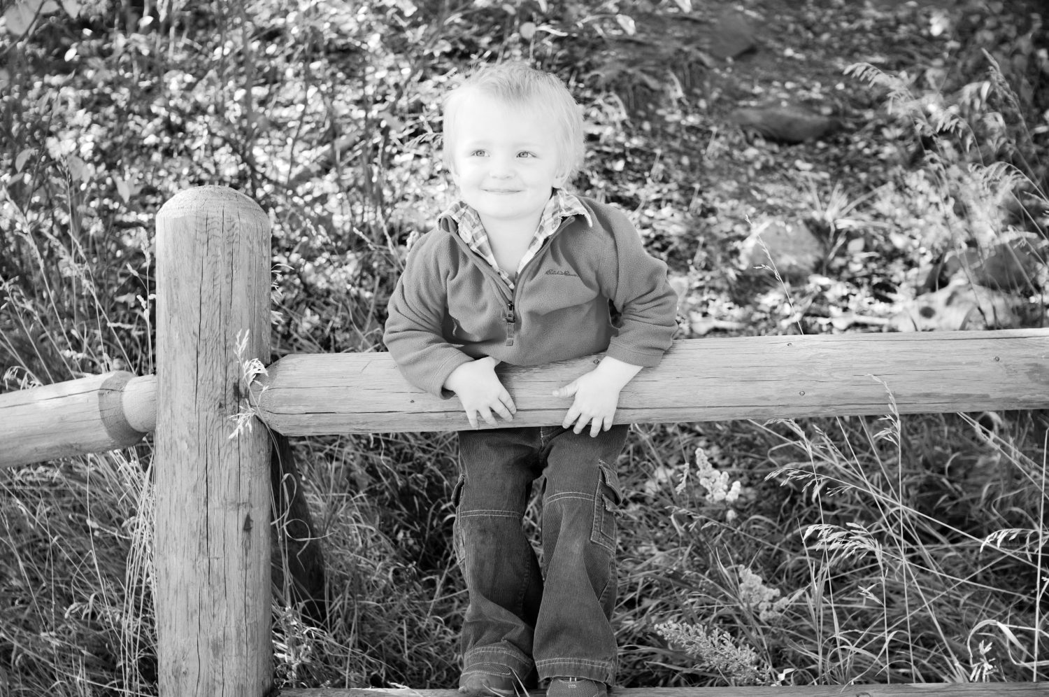 black and white image of little boy standing on a wooden fence smiling