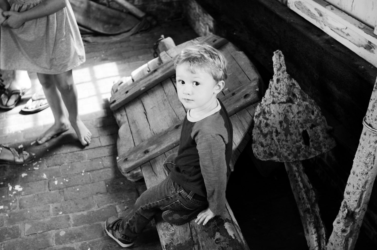 black and white image of young boy