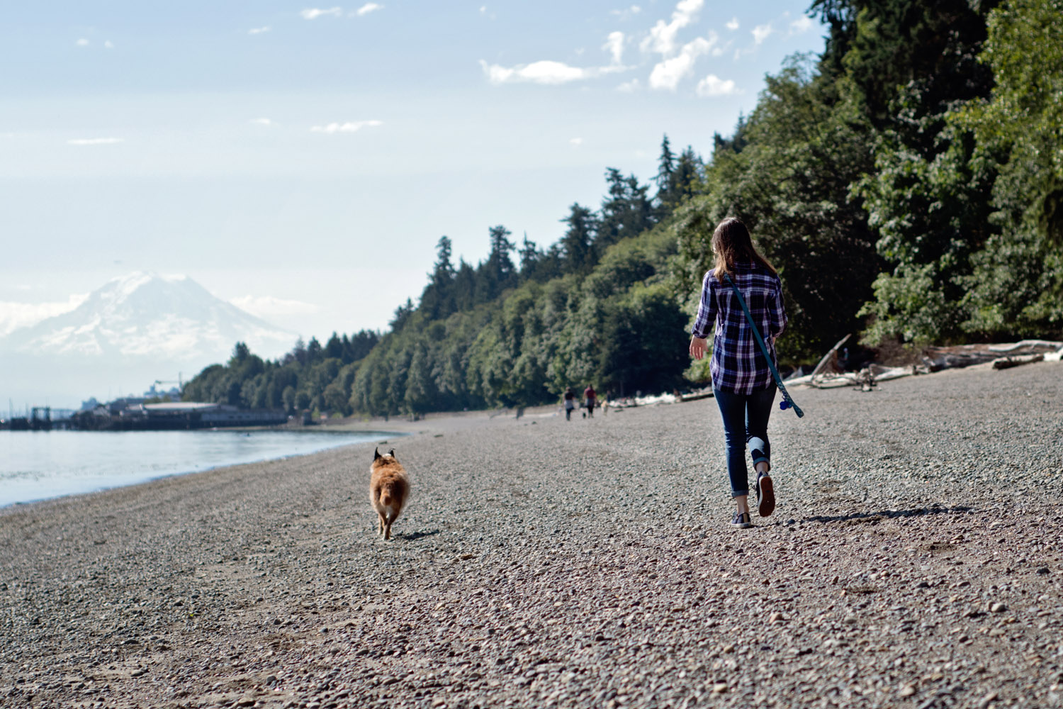 Older dog and owner running together on Owen's Beach with Mt Rainier in the distance