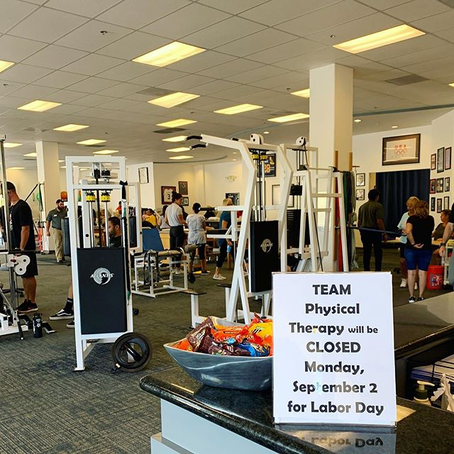 Team Physical Therapy will be closed on Monday, Sept 2 for Labor Day. We hope you all have a safe and relaxing 3 day weekend! #laborday #teampt