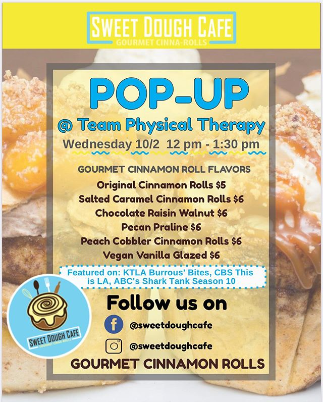 Team is turning 18! On Wed, 10/2 from 12pm-1:30pm @sweetdoughcafe will be here for a Pop-Up to sell their incredible cinnamon rolls! Come join in the celebration and enjoy! #anniversary