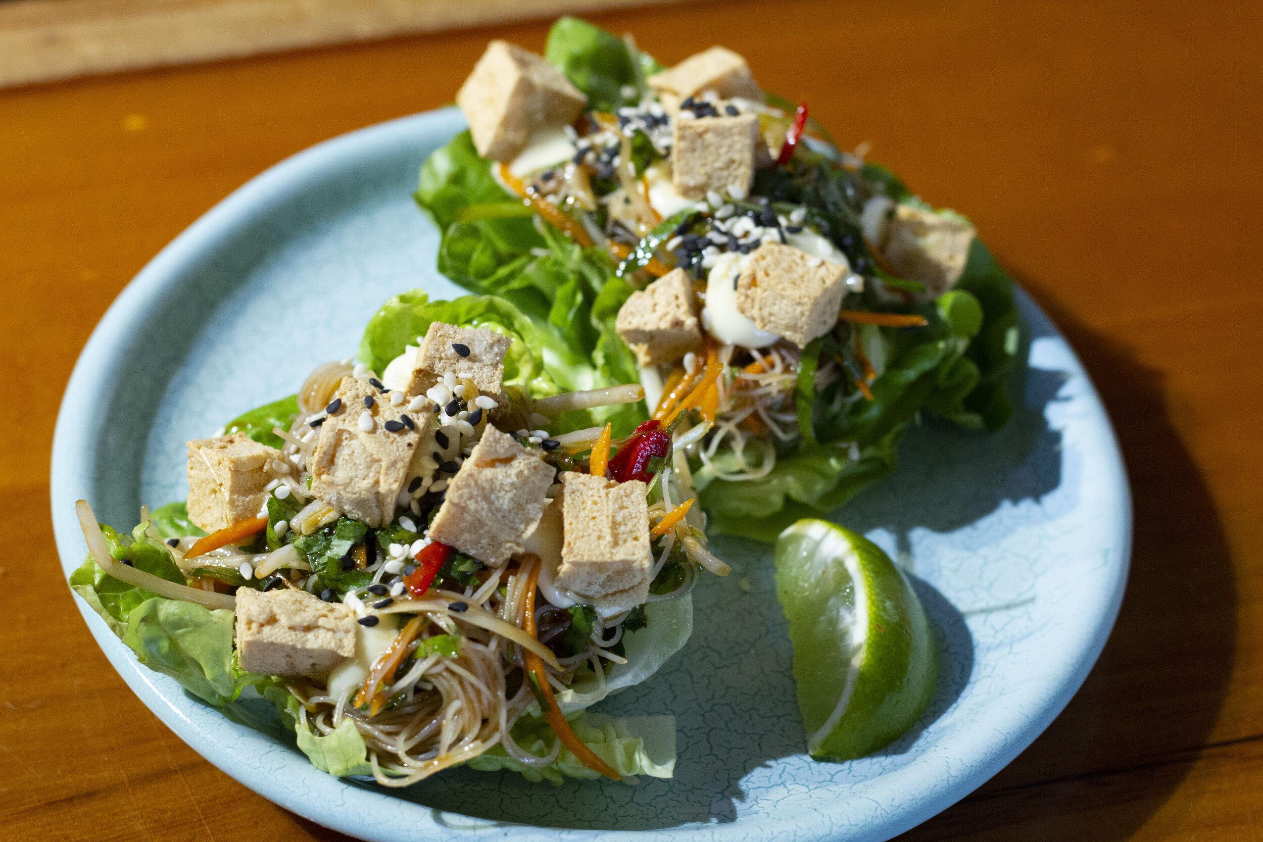 Crispy Tofu Lettuce Cups
