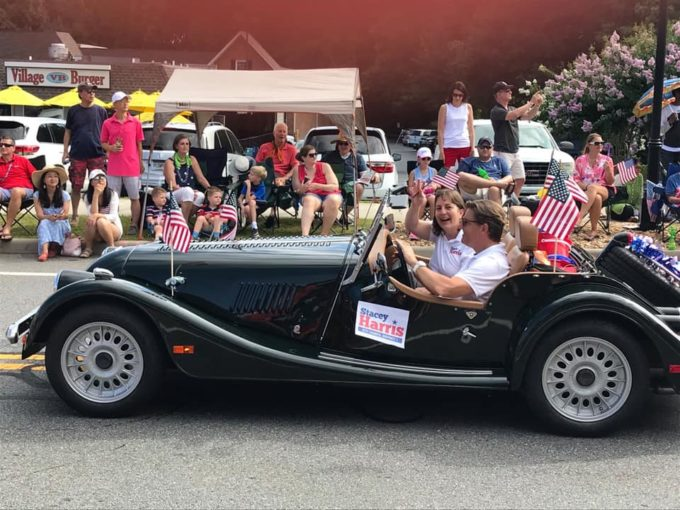 Stacey and her husband, Jack, in the Dunwoody 4th of July Parade