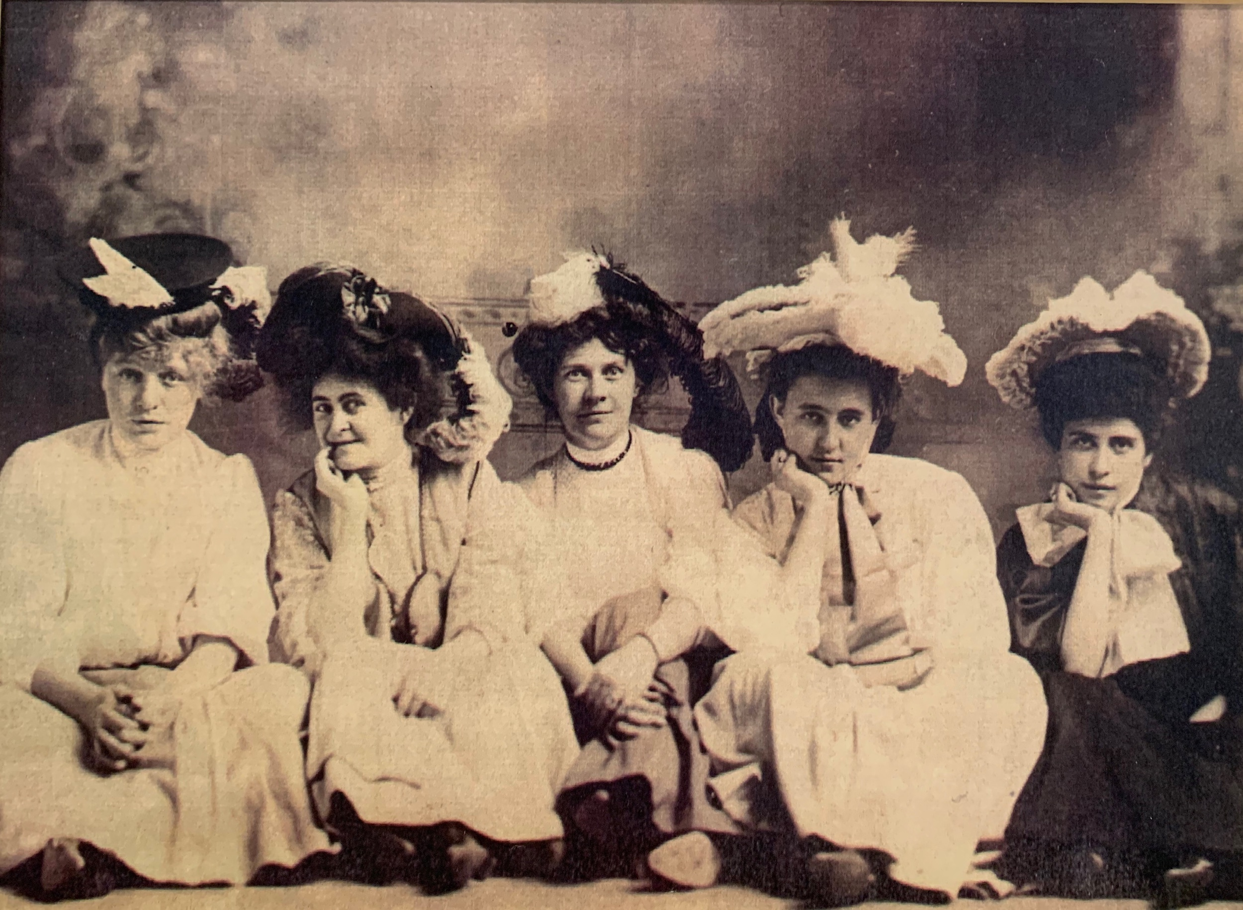 Millinery business partners with Grandmother, Elizabeth Fleming (second from right)