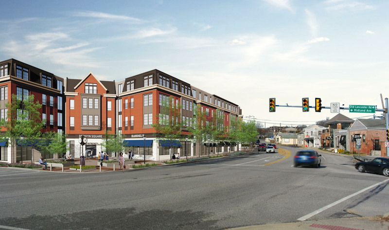 View of proposed Berwyn Square from Lancaster looking towards where current Handels Ice Cream is located. For cars exiting onto Lancaster Ave, only 4-5 cars can be in line at one time for this light at Midland & Lancaster, as the exit from the building (just to the left of this rendering) is too close to the intersection. Plus, there is no right turn on red allowed for cars exiting Midland onto Lancaster Ave. Traffic will instead, find alternate routes through the residential streets, immediately surrounding the apartment complex.