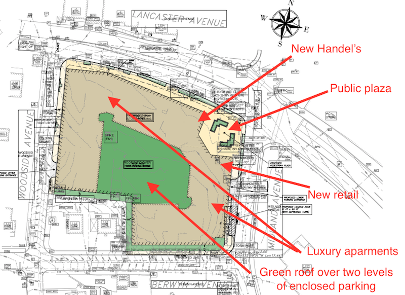 High level view of the development – you can see that this complex will occupy the entire block. Plus, there are only two entrance and exit points onto Lancaster – Midland and Woodside. And neither are adequate for the expected lines of vehicles entering and exiting the property, and accessing Lancaster Ave. Drivers will seek alternate routes through the village to get to and from the premises.