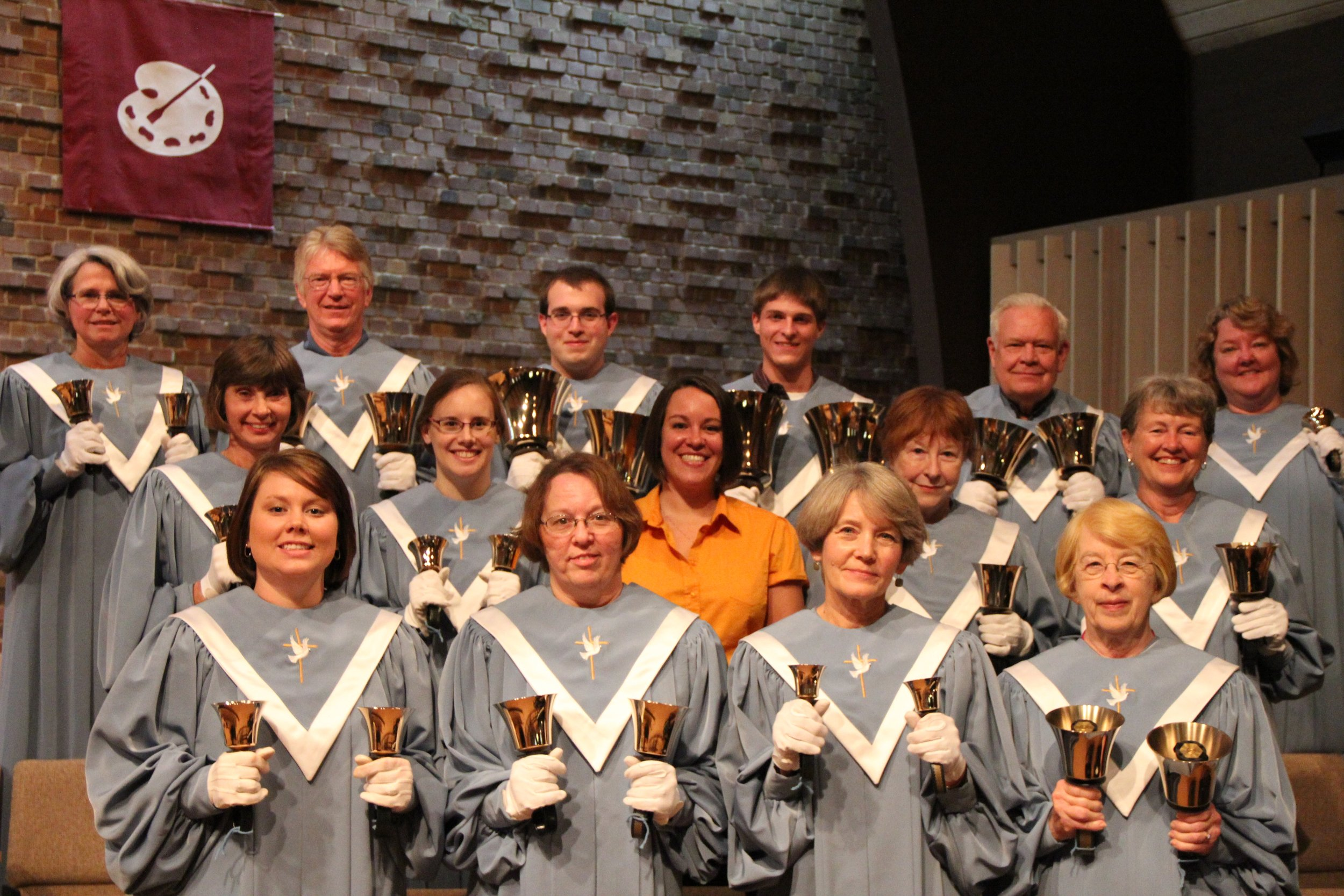 Handbell Ringers - The handbell choir rehearses Thursdays from 6:15-7:15 and plays in worship one or two Sundays each month. New or experienced ringers are invited to join at any rehearsal. If you can count to four, you can probably enjoy playing handbells. Experience the fellowship with other ringers and the many benefits of playing music.