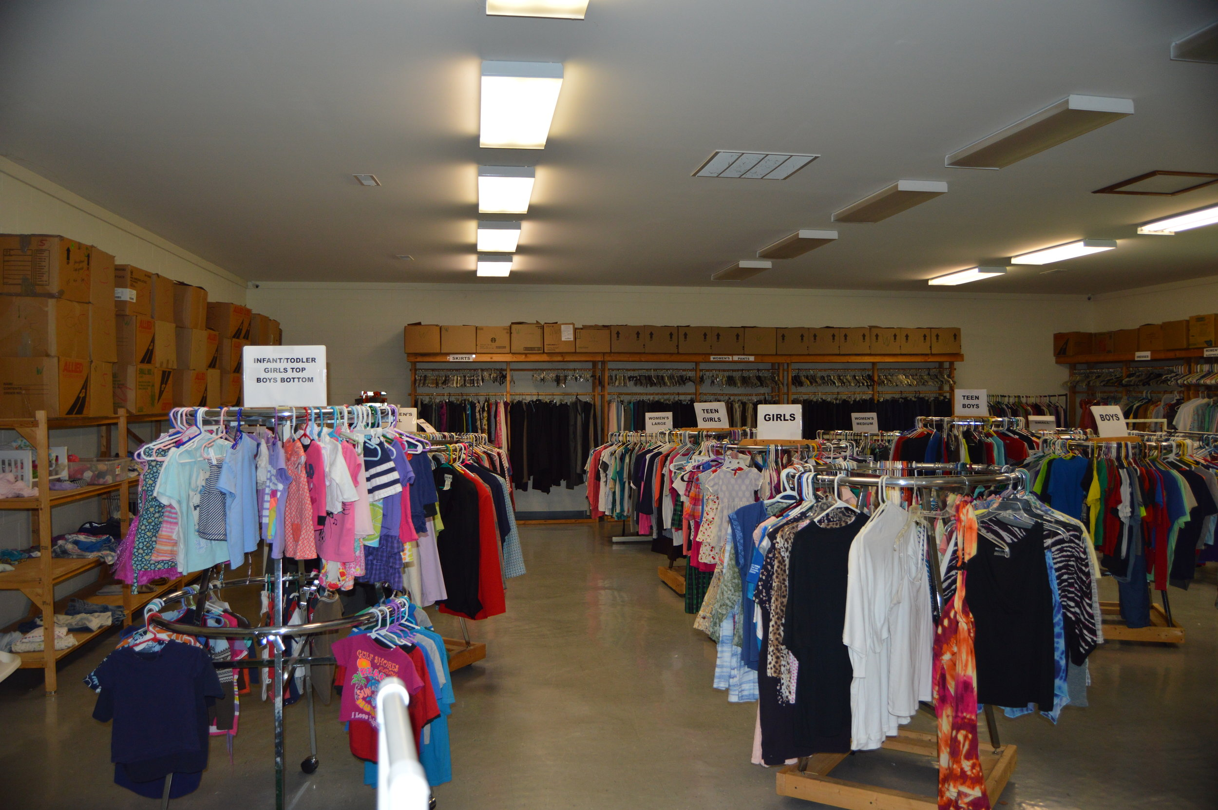 Clothing Closet - Open the first 4 Tuesdays of the month from 9-10:30 am. Closed on 5th Tuesdays of the month.Located behind the church building.FREE clothes to anyone who needs them.Click here for more information.