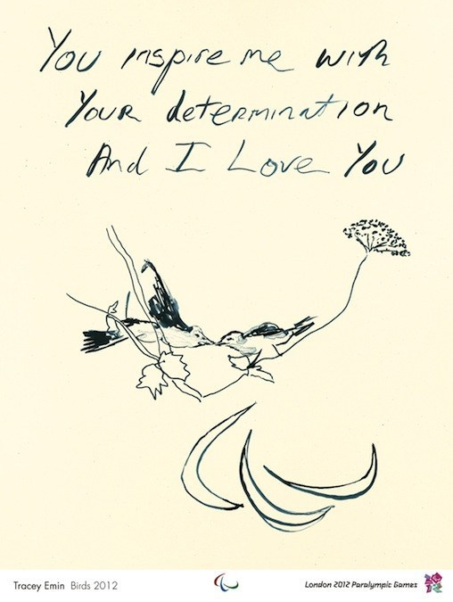 [Picture description: The words: 'You inspire me with your determination and I love you'. Below these words is a scratchy pen and ink rendering of two birds atop wild flowers, and the Paralympic symbol etched in a rough way, which leads down the page.]