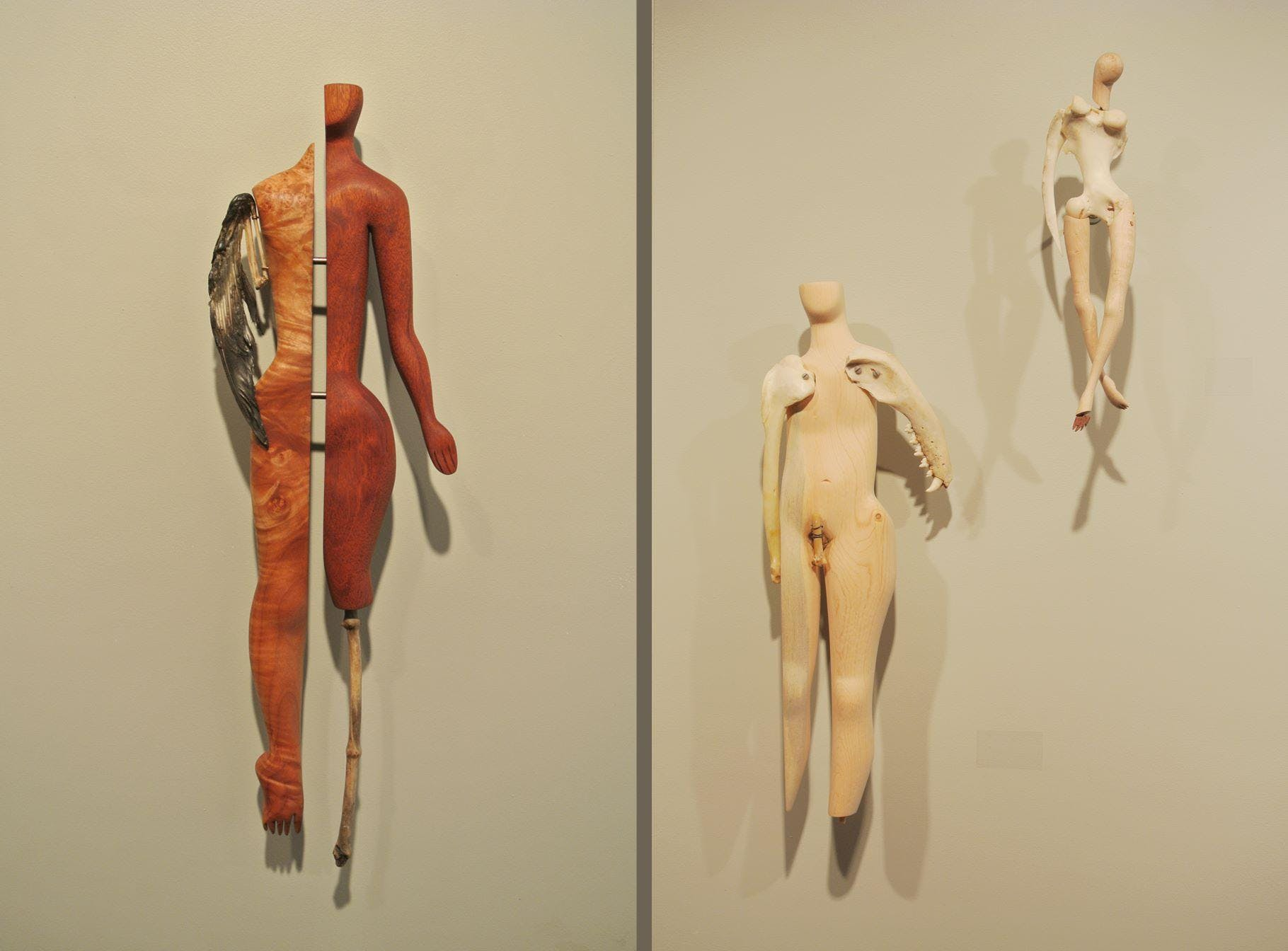 "Artwork by Persimmon Blackbridge, as shown in ""Constructed Identities"" at Tangled Art, Toronto, CA. 2016. Image description: Three bodies made from selection of reclaimed objects."