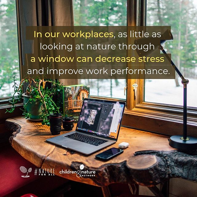 """In our workplaces, as little as looking at nature through a window can decrease stress and improve work performance."" #NatureForAll • Find out how you can enjoy the benefits of everyday nature here: http://natureforall.global/why #linkinbio"