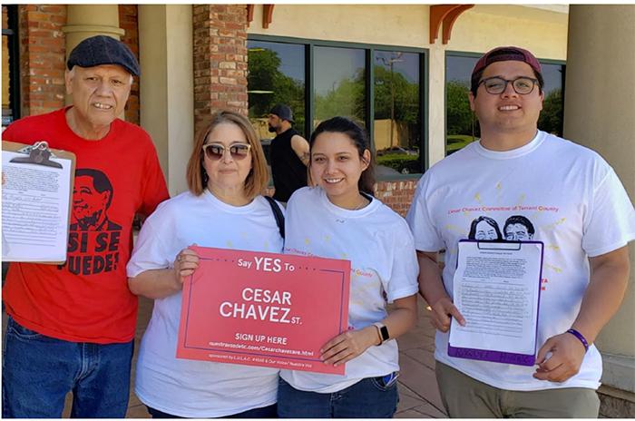 Cesar Chavez Ave. Petition Drive, LULAC Council 4568  Alberto Govea (Far Left) Gloria Govea (Left) Denise Jimenez (Right) Johnathon Arguello (Far Right)