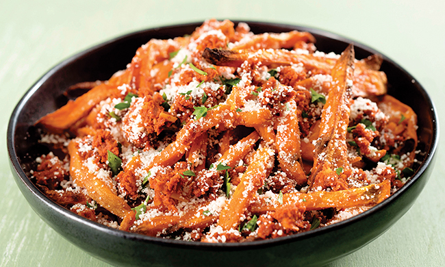 Baked Sweet Potato Fries with Chorizo and Cotija