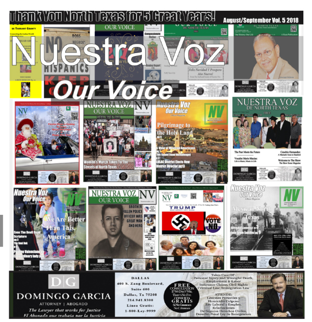 """Anniversary Cover Before Official name change from""""Nuestra Voz"""" to """"Our Voice"""""""