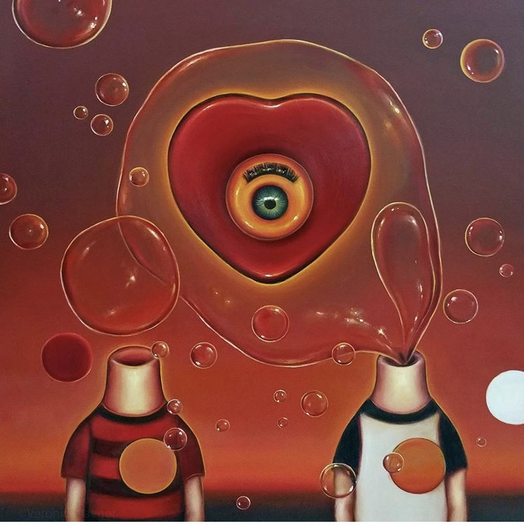 """Bubble Heart by Veronica Jaegerart, 36"""" x 36"""" in, oil on canvas"""