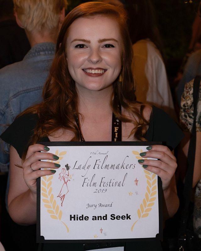 "Congratulations to Emily Brubaker of ""Hide and Seek"" for the Jury Award at #ladyfilmmakers2019 #ladyfilmmakersfestival #ladyfilmmakers #writerdirector #editor #filmmaker #womeninfilm #herfilm #writer #director #scarymovie #awardwinningfilm #shortfilm"