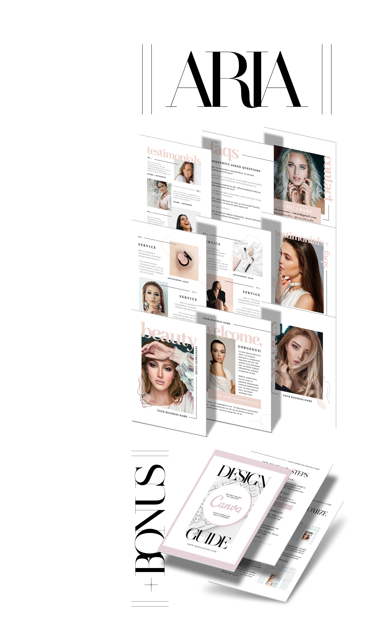 aria includes: - + 9 fully designed and customizable pages sized at 8.5 x 11, including:NO.1 || COVER PAGENO. 2 || WELCOME LETTERNO. 3 || SERVICES COVERNO. 4 || SERVICES PART 1NO. 5 || SERVICES PART 2NO. 6 || TESTIMONIALS COVERNO. 7 || TESTIMONIALSNO. 8 || FREQUENTLY ASKED Q'SNO. 9 || CONTACT INFO+ All featured stock images+ All featured Canva graphic elements+ All featured fonts (no downloads)+ BONUS | Canva editing guide