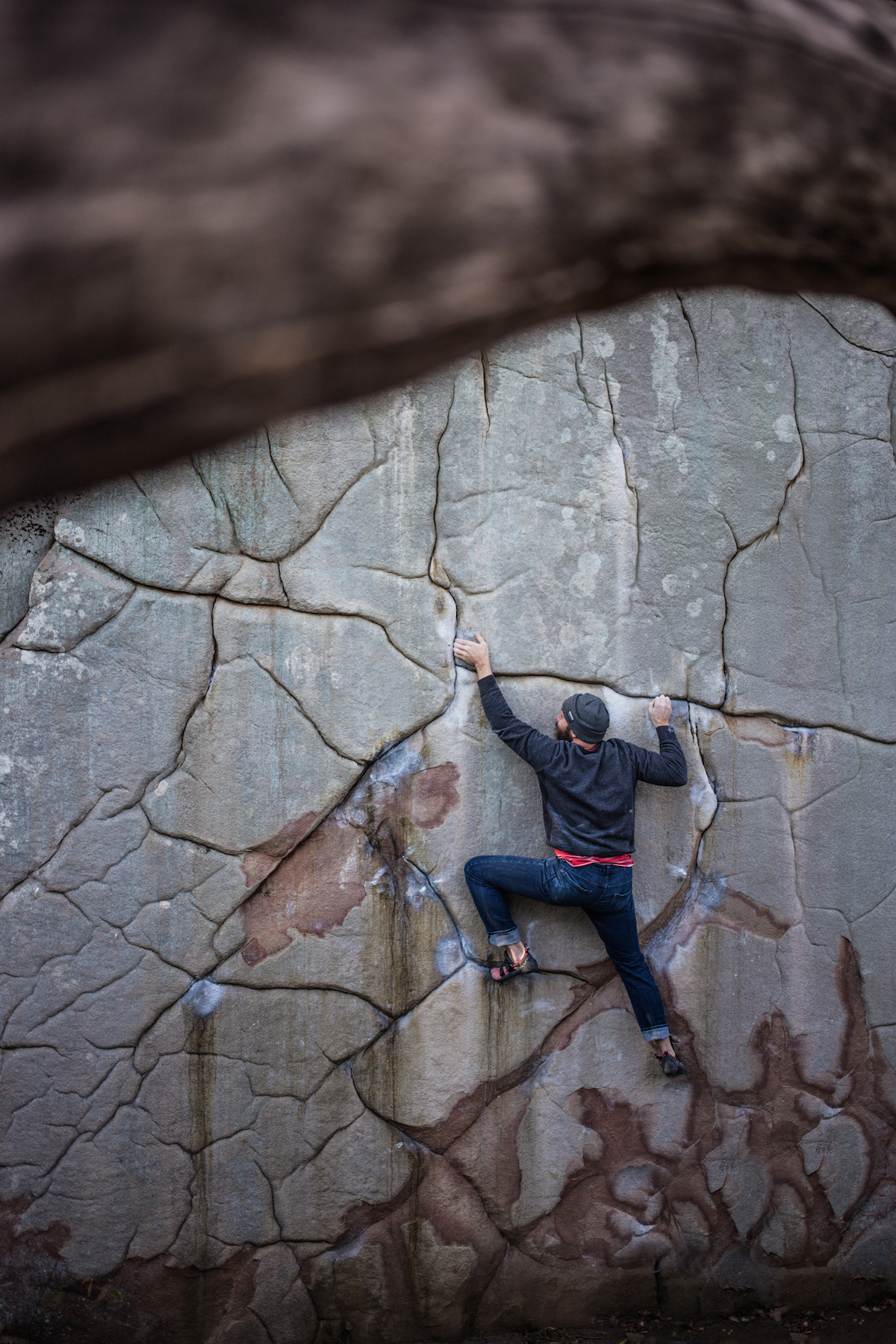 Chris Danielson on an ascent of Deception (V7), Little Rock City, TN.