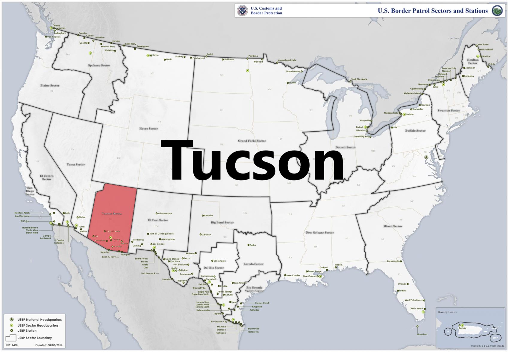 Border patrol sectors map - Tucson.png