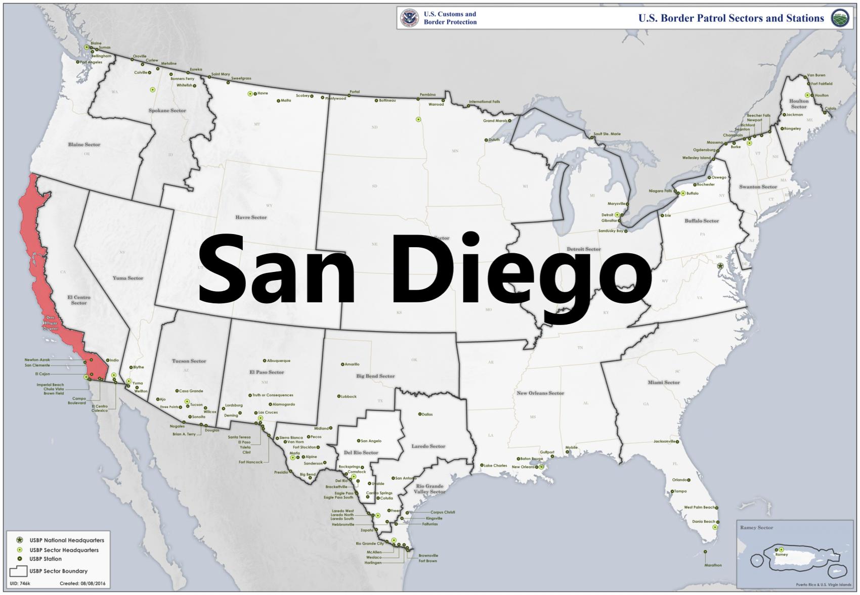 Border patrol sectors map - San Diego.png