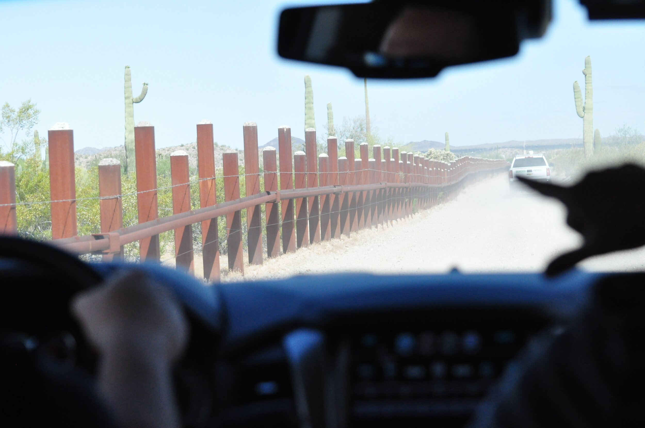 An example of the old vehicle barrier before the construction of Trump's wall in the Tucson sector