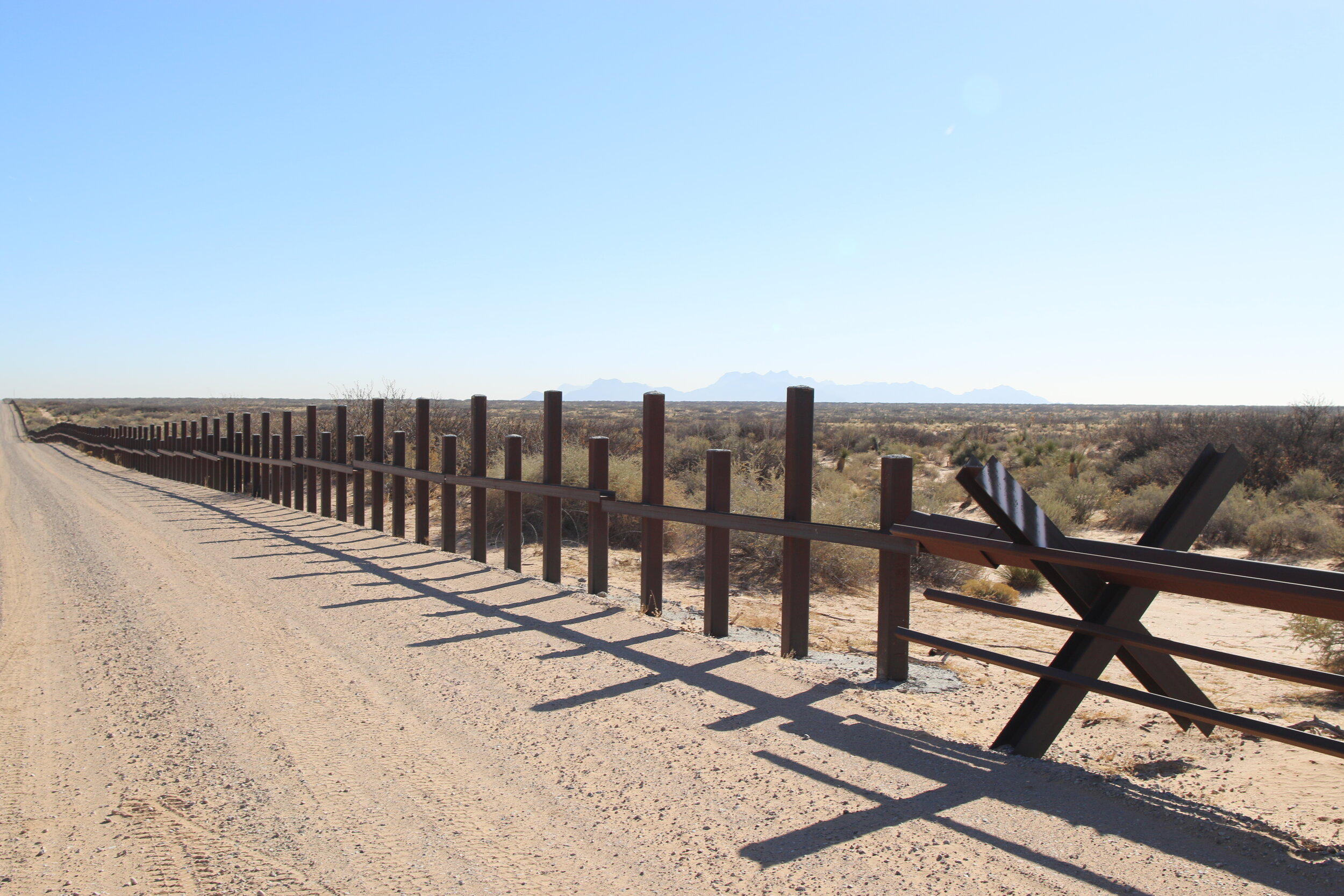 An example of the old vehicle barrier before the construction of Trump's wall in the El Paso sector