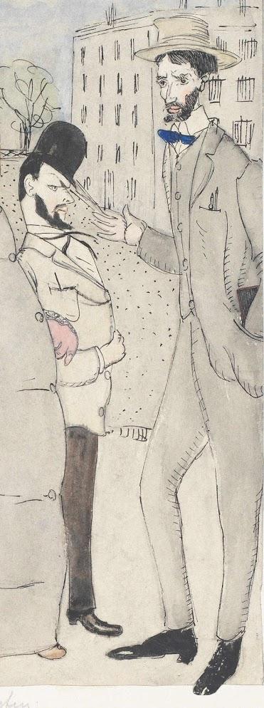 """Ernst Sonderegger, Paul Klee und Ernst Sonderegger, """"Nun - Zeichnen Sie viel nach der Natur?"""" (Ausschnitt), Aquarellierte Federzeichnung, 1908 (©Zentrum Paul Klee Bern)"""