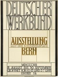 Peter Behrens, Deutscher Werkbund, Ausstellung auf dem Kirchenfeldplatz Bern, Ausstellungsplakat, 1917 © Kunstanstalt Kümmerly & Frey, Bern
