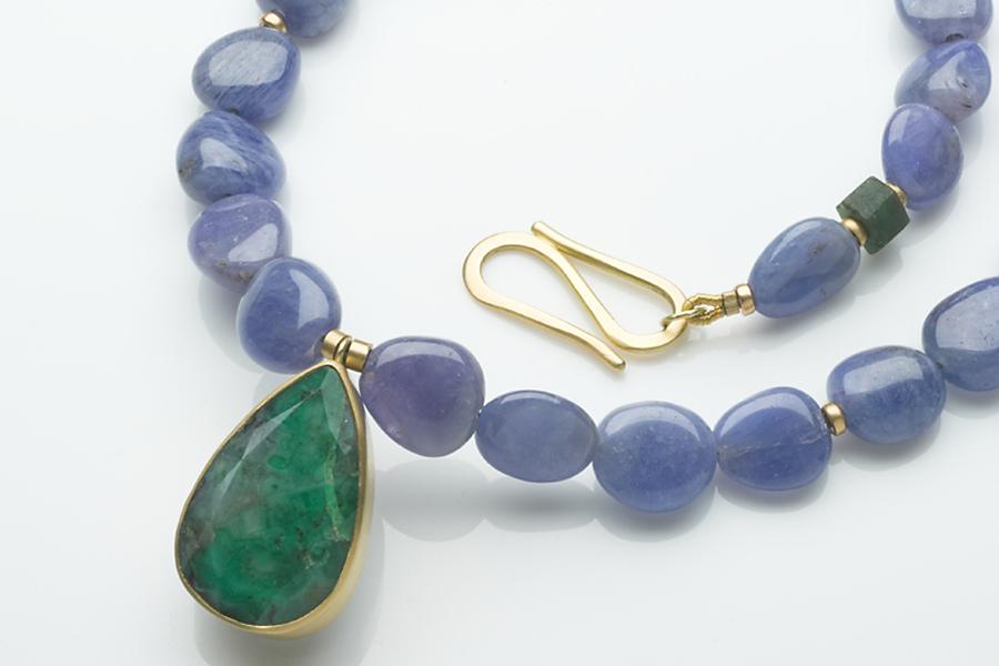 Tanzanite and emerald necklace