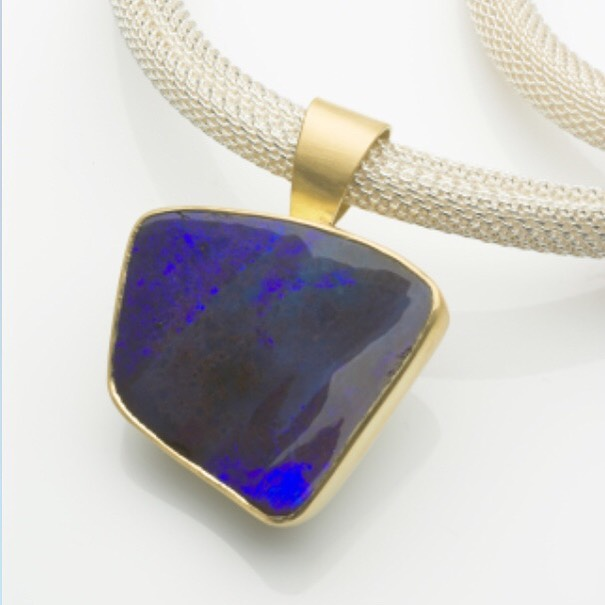 Just packed this one for @goldsmithsfair. A blue boulder opal pendant set in 18ct gold. #opal #18caratgold #silver #jewellery #pendant #neckpiece #oneofakind #goldsmithsfair2019