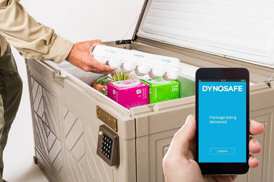 A prototype of the Dynosafe smart safe that secures to your porch