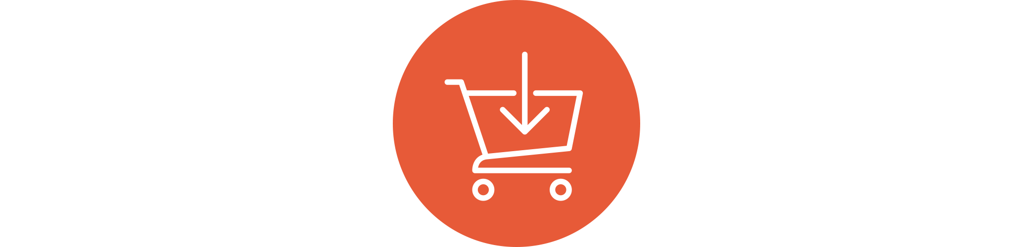 A shopping cart icon with an arrow pointing down into the basket