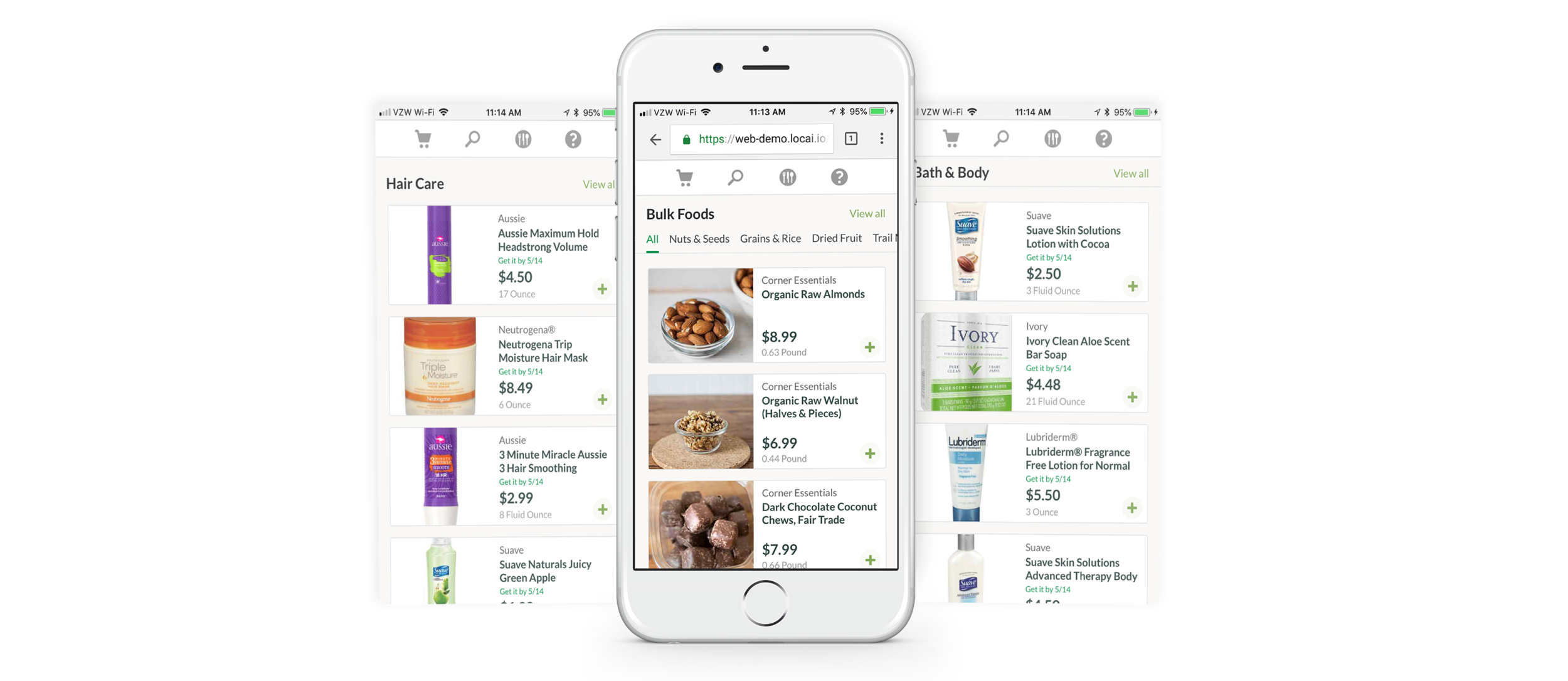 Three smart phone showing online shopping by category. The first displays hair care products, the second bulk foods, and the third bath and beauty products.