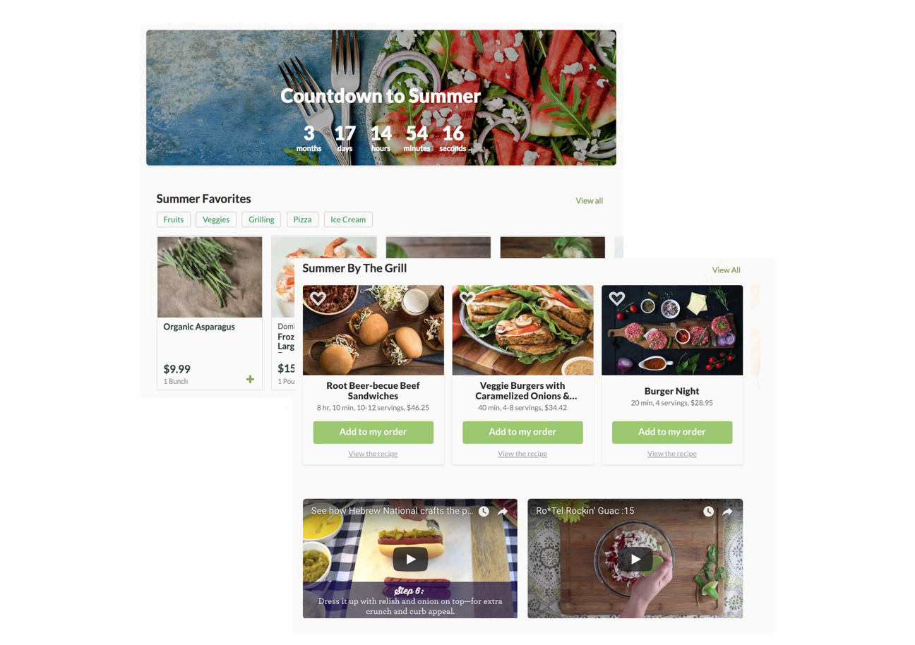 Two screenshots, the first shows a Count Down to Summer, the second shows summers favorite produce with the price and an easy click-to-collect option. The second screen shows Summer Grilling recipes that you can select and have all of the ingredients added to your order. Beneath that there are video tutorials easy meals and snacks.