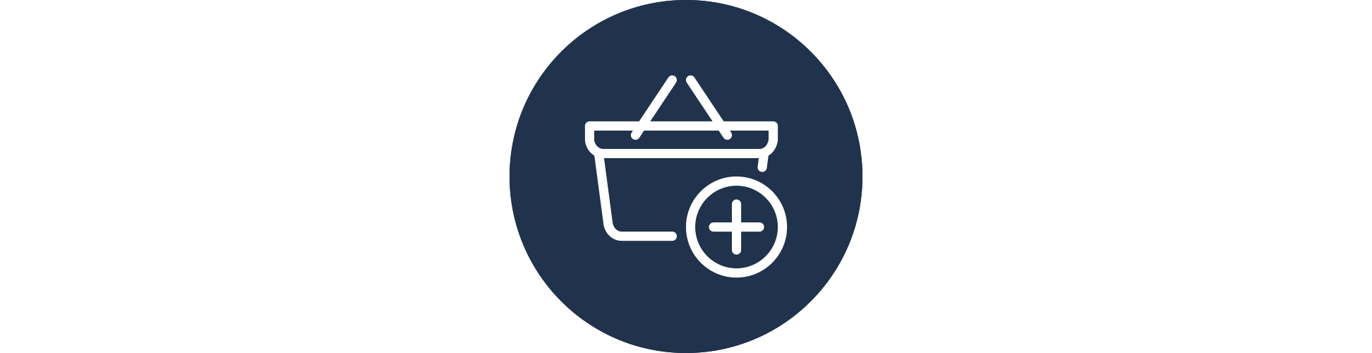 A shopping basket with a plus sign/add item button on the lower right corner